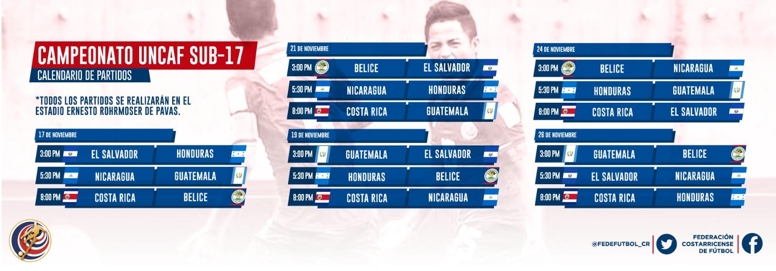 Definido calendario para torneo UNCAF sub 17