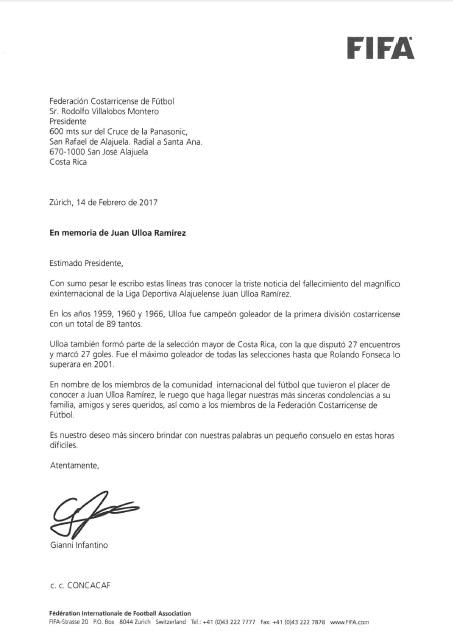 Carta FIFA por muerte de Juan Ulloa