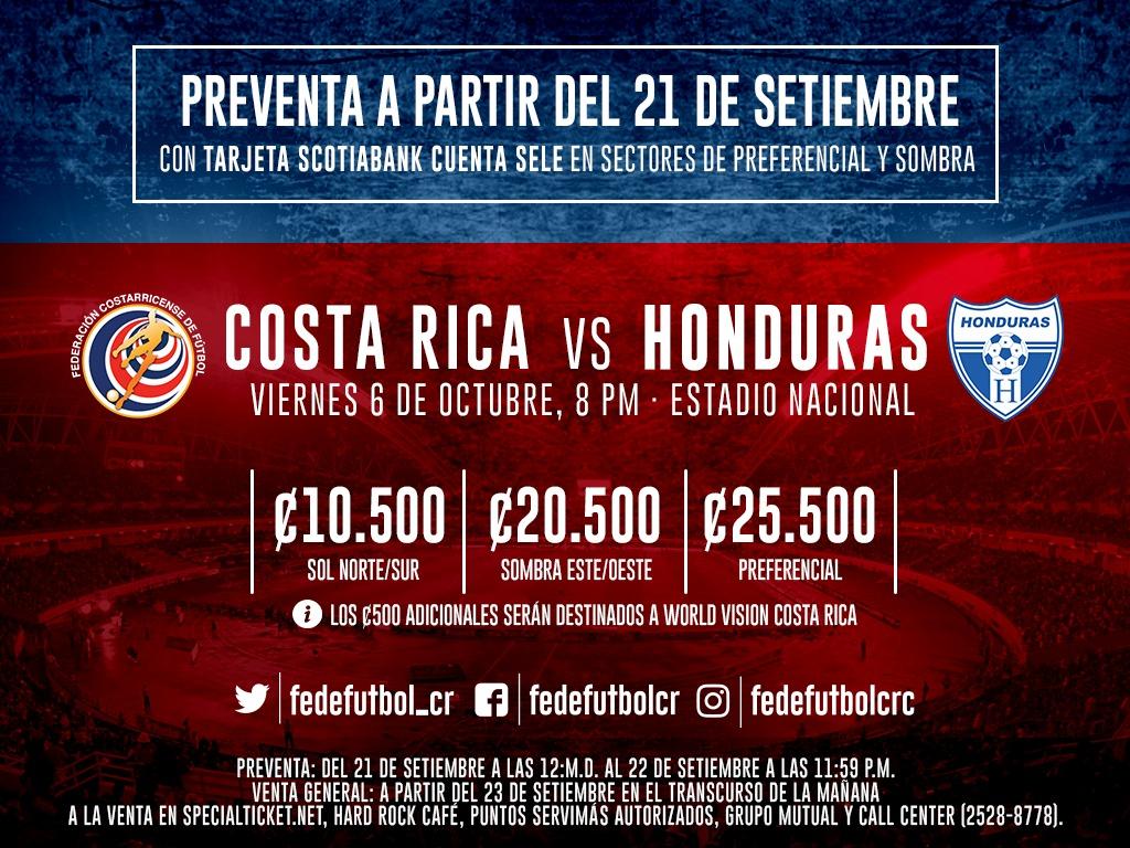 Preventa para juego ante Honduras inicia el 21 de setiembre