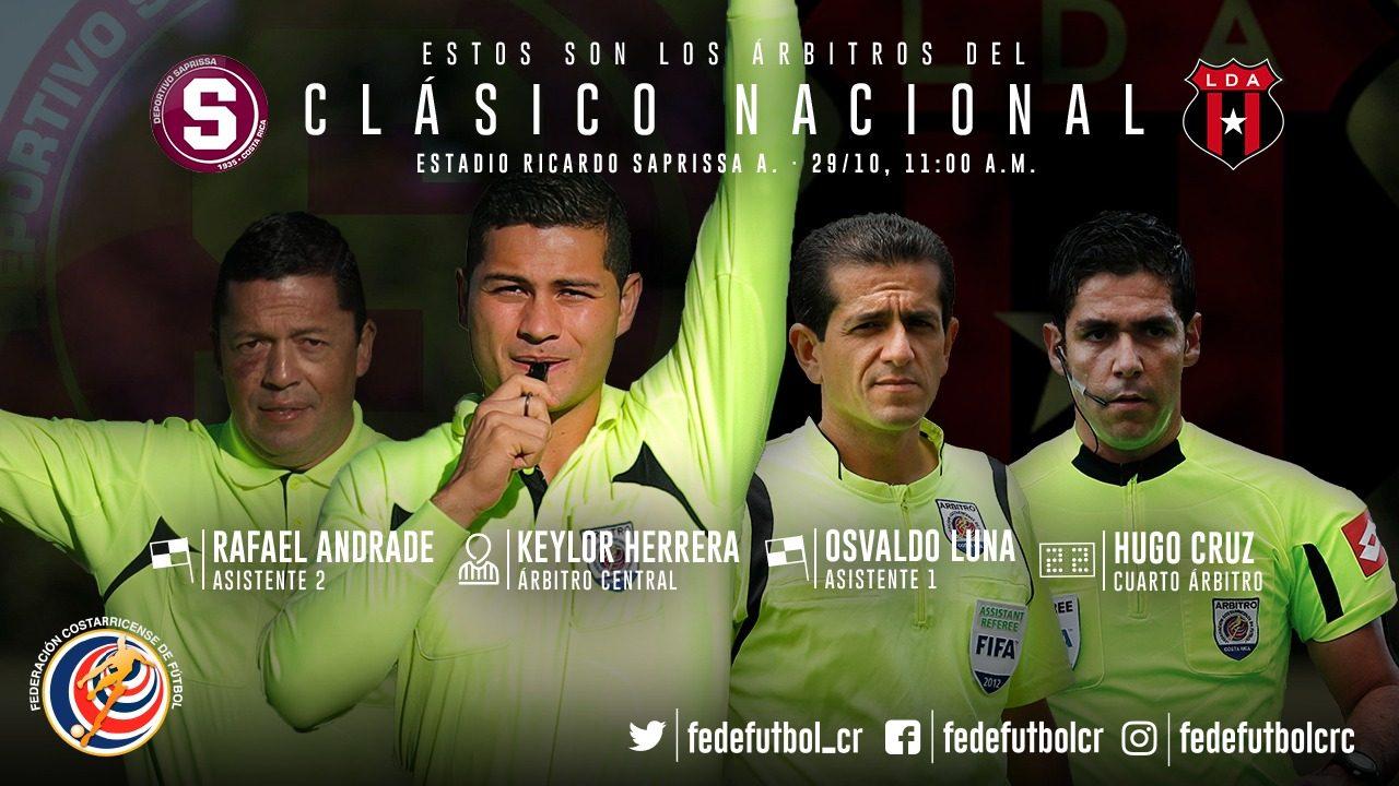 Clásico nacional será dirigido por Keylor Herrera