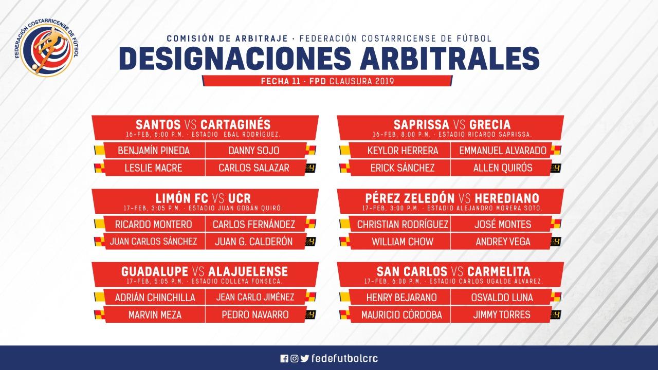 Árbitros para cierre de juegos ida de la Primera División