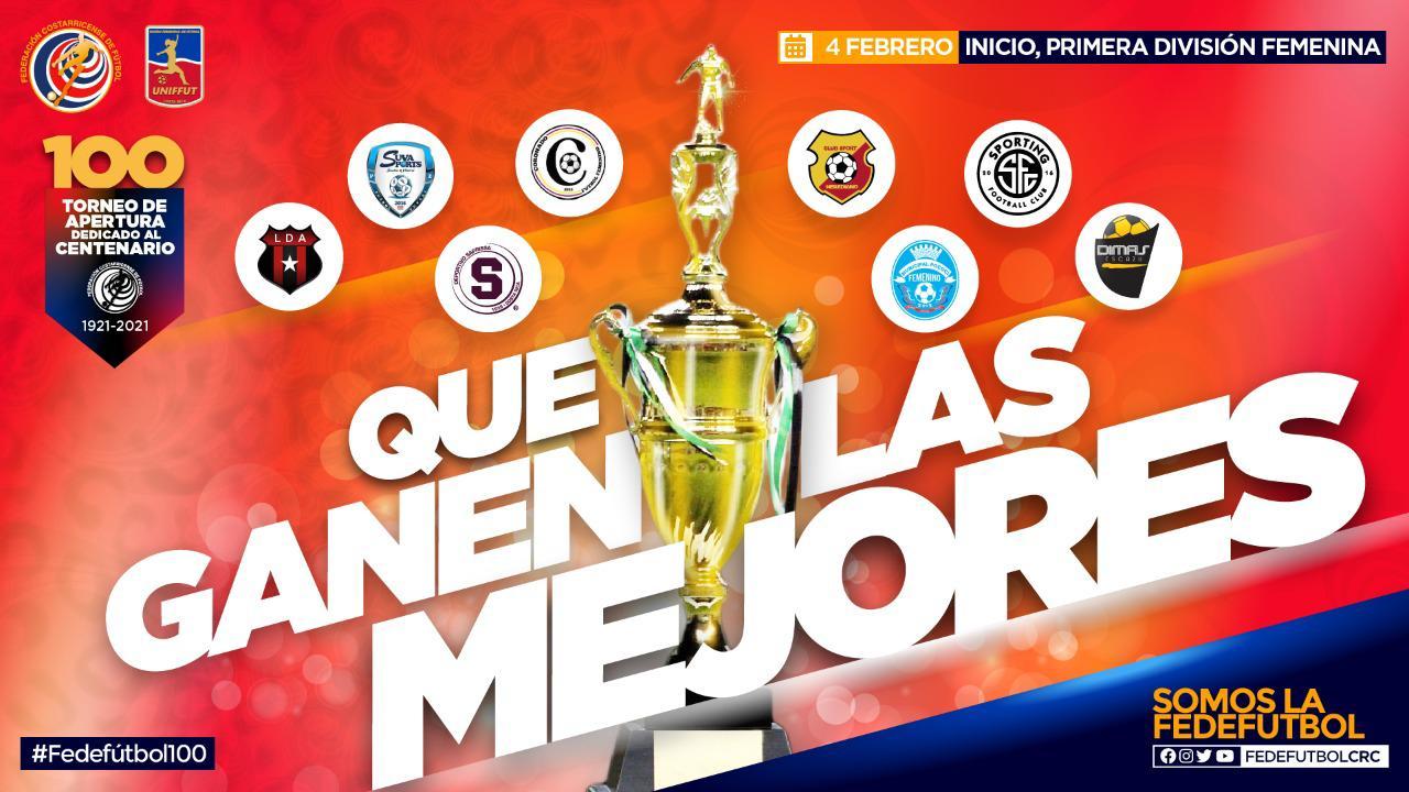 Torneo de Primera División femenina estará dedicado al Centenario de la Fedefútbol